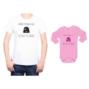 Conjunto Papá Hija Polera y Body 100% algodón Calambur diseño Yo soy tu padre Personalizado