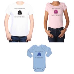Conjunto Papá Mamá Hijo Poleras y Body 100% algodón Calambur diseño Yo soy tu padre Yo soy tu madre Personalizado