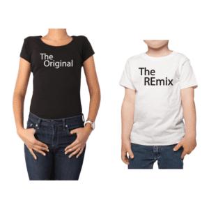 Conjunto Mamá Niño Poleras 100% algodón Calambur diseño The Original The Remix