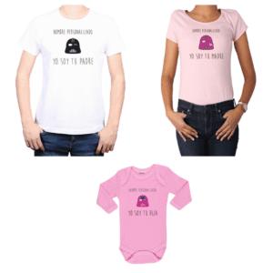 Conjunto Papá Mamá Hija Poleras y Body 100% algodón Calambur diseño Yo soy tu padre Yo soy tu madre Personalizado