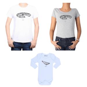 Conjunto Papá Mamá Bebé Poleras y Body 100% algodón Calambur diseño Pizza Negra