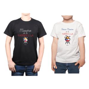Conjunto Papá Niño Poleras 100% algodón Calambur diseño Maestro de la Parrilla