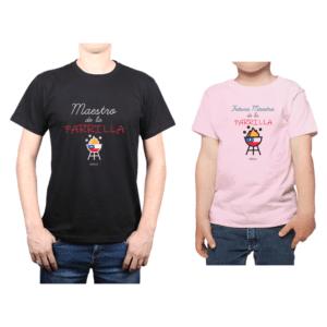 Conjunto Papá Niña Poleras 100% algodón Calambur diseño Maestro de la Parrilla