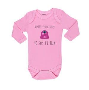 Body Bebé Calambur 100% algodón diseño Yo soy tu Hija Nombre Personalizado rosado