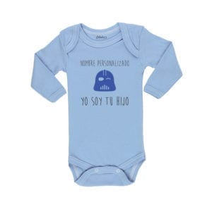 Body Bebé Calambur 100% algodón diseño Yo soy tu Hijo Nombre Personalizado celeste