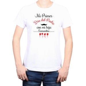 Polera Hombre Calambur 100% algodón diseño Mi Primer Día del Padre con mi hija blanco