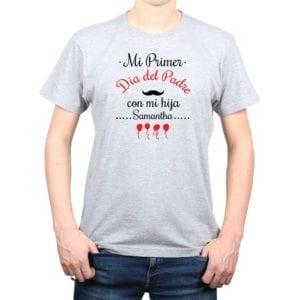 Polera Hombre Calambur 100% algodón diseño Mi Primer Día del Padre con mi hija gris