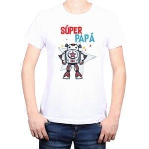Polera Hombre Calambur 100% algodón diseño Súper Papá blanco