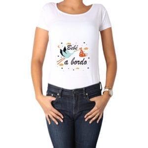 Polera Mujer Calambur 100% algodón diseño Bebé a bordo blanco