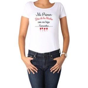 Polera Mujer Calambur 100% algodón diseño Mi Primer Día de la Madre con mi hija blanco