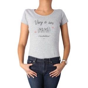 Polera Mujer Calambur 100% algodón diseño Voy a ser Mamá conchalalora gris