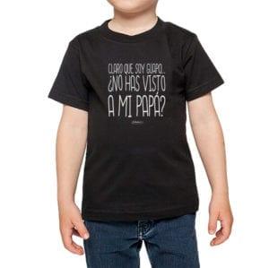 Polera Niño Calambur 100% algodón diseño Claro que soy guapo Papá negro