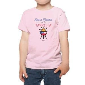 Polera Niña Calambur 100% algodón diseño Futura Maestra de la Parrilla rosado