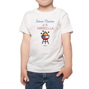 Polera Niño Calambur 100% algodón diseño Futuro Maestro de la Parrilla blanco