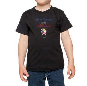 Polera Niño Calambur 100% algodón diseño Futuro Maestro de la Parrilla negro