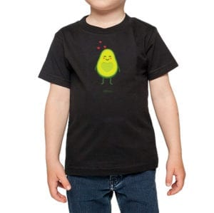 Polera Niños Calambur 100% algodón diseño Palta negro