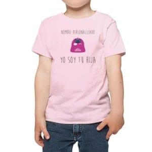 Polera Niña Calambur 100% algodón diseño Yo soy tu hija personalizado rosado