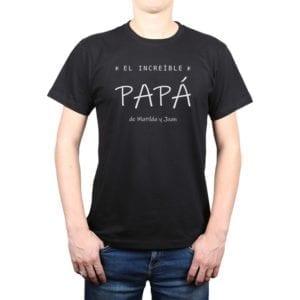 Polera Hombre Increíble Papá Nombres Personalizados Calambur negro