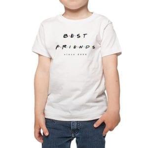 Polera Niños Best Friends Since Fecha Personalizada Calambur blanco