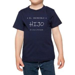 Polera Niños Increíble Hijo Nombres Personalizados Calambur azul marino