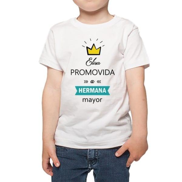 Polera Niño Promovida a Hermana Mayor Nombre Personalizado Calambur blanco