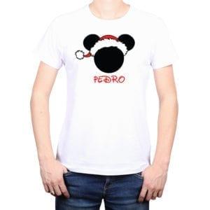Polera Hombre Mickey Navidad Personalizado Calambur blanco