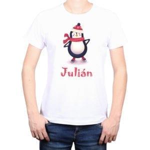 Polera Hombre Pingüino Navidad Personalizado Calambur blanco