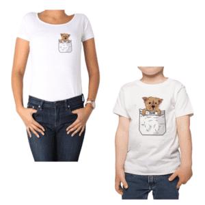 Conjunto Calambur Mama Niño Poleras Ilustración Mascota Personalizada