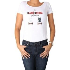 Polera Mujer Esta Mamá Gatuna Personalizado Calambur 100% algodón Blanco